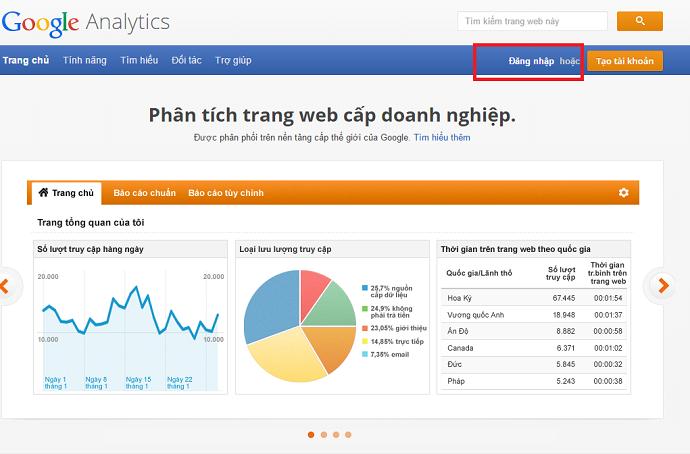 Hướng dẫn bước 1 để cài đặt Google Analytic vào website